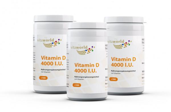 3er Pack Vitamin D3 4000 I.U. (300 Kps)
