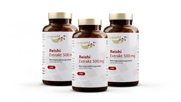 3er Pack Reishi Extrakt 500 mg (300 Kps)