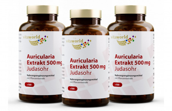 3er Pack Auricularia Extrakt 500 mg (300 Kps)