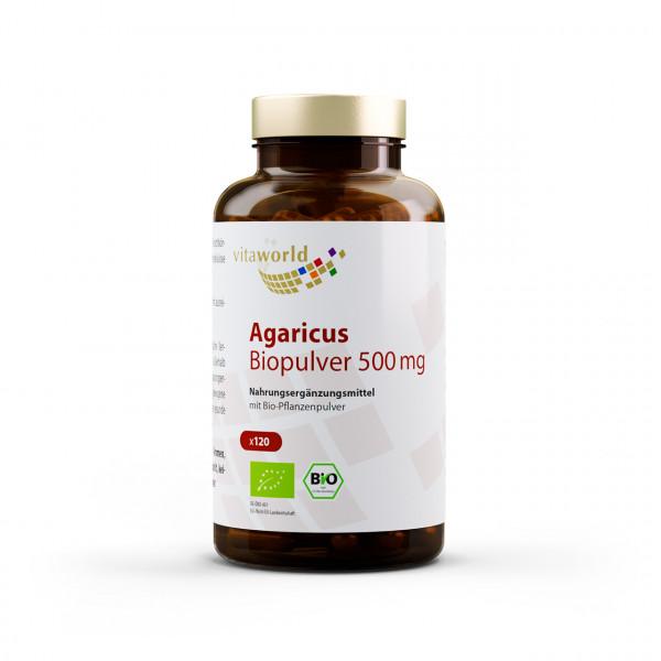 Agaricus Biopulver 500 mg (120 Kps)