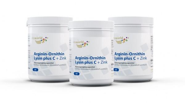 3er Pack Arginin-Ornithin-Lysin + C + Zink (180 Kps)